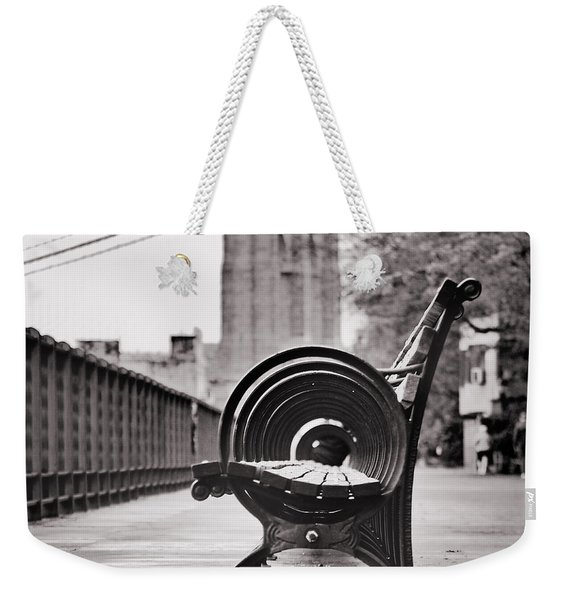 Bench's Circles And Brooklyn Bridge - Brooklyn Heights Promenade - New York City Weekender Tote Bag