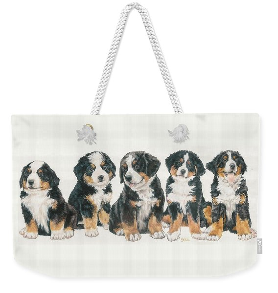 Weekender Tote Bag featuring the mixed media Bernese Mountain Dog Puppies by Barbara Keith
