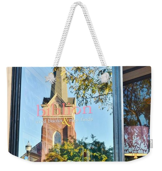 Weekender Tote Bag featuring the photograph Biblion Used Books Reflections 3 - Lewes Delaware by Kim Bemis