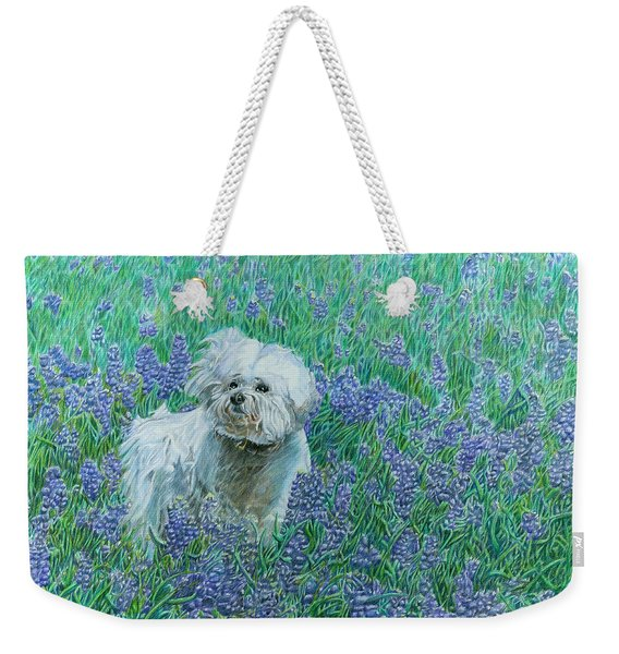 Bichon In The Bluebonnets Weekender Tote Bag