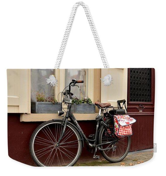 Bicycle With Baby Seat At Doorway Bruges Belgium Weekender Tote Bag