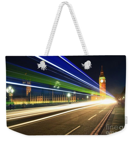 Weekender Tote Bag featuring the photograph Big Ben And A Bus by Jeremy Hayden