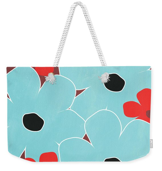 Big Blue Flowers Weekender Tote Bag