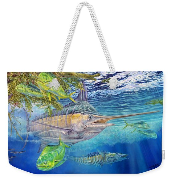 Big Blue Hunting In The Weeds Weekender Tote Bag