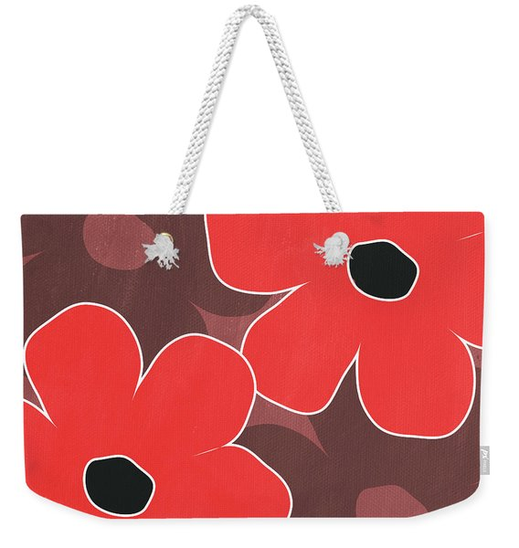 Big Red And Marsala Flowers Weekender Tote Bag