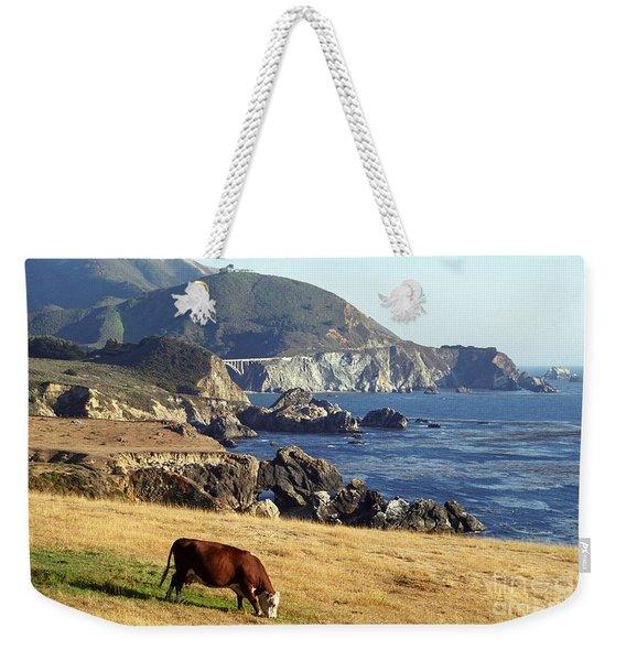 Big Sur Cow Weekender Tote Bag