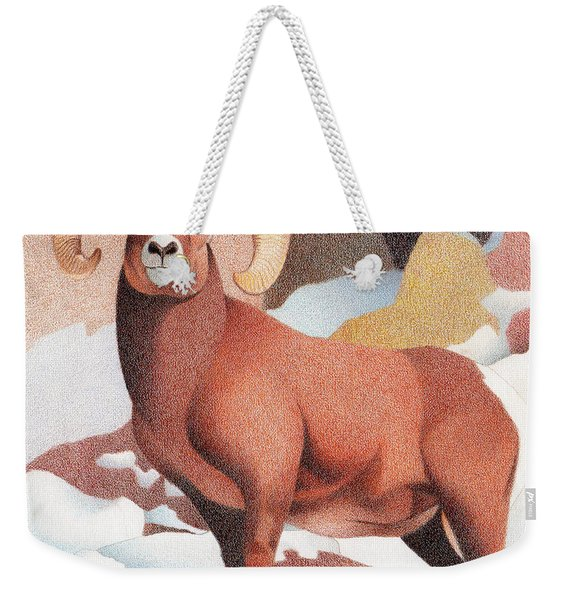 Bighorn Sheep Winter Weekender Tote Bag