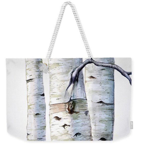 Birch Trees In Watercolor Weekender Tote Bag
