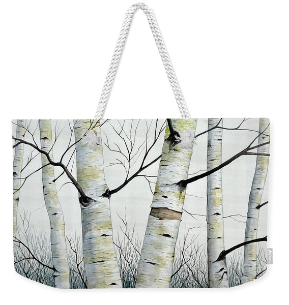 Birch Trees In The Forest In Watercolor Weekender Tote Bag
