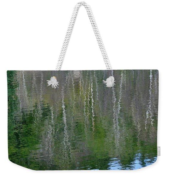 Birch Trees Reflected In Pond Weekender Tote Bag