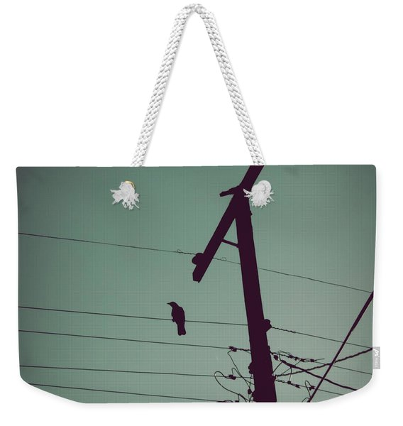 Weekender Tote Bag featuring the photograph Bird On A Wire by Patricia Strand