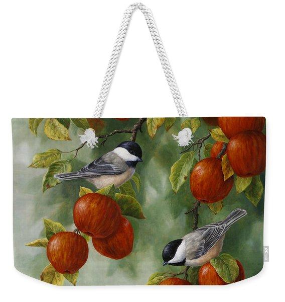 Bird Painting - Apple Harvest Chickadees Weekender Tote Bag