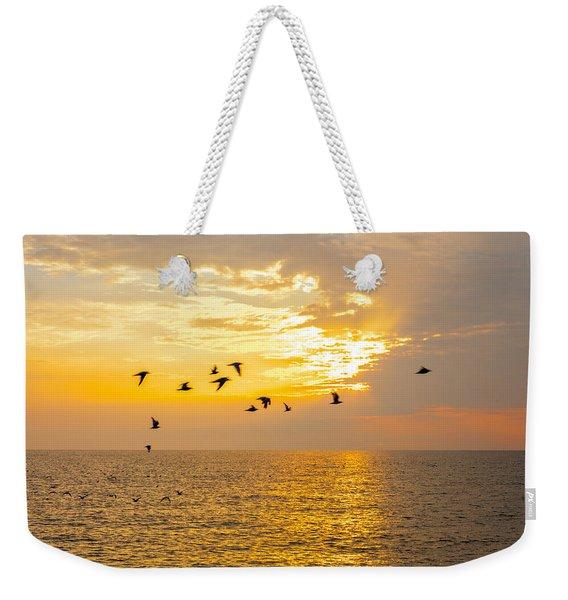 Birds In Lake Erie Sunset Weekender Tote Bag