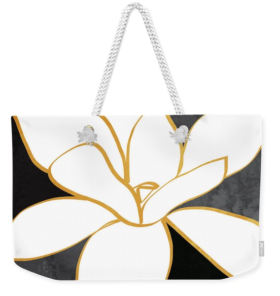 Black And Gold Magnolia- Floral Art Weekender Tote Bag