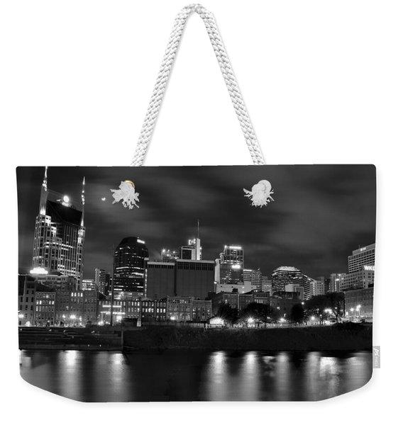Black And White Night In Nashville Weekender Tote Bag