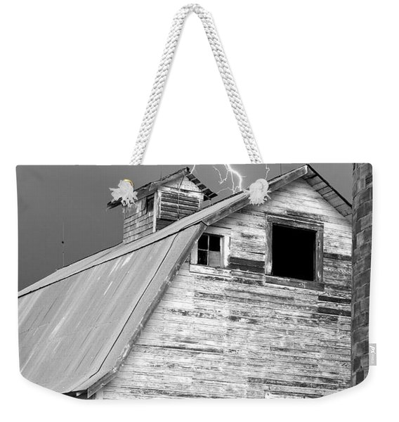 Black And White Old Barn Lightning Strikes Weekender Tote Bag