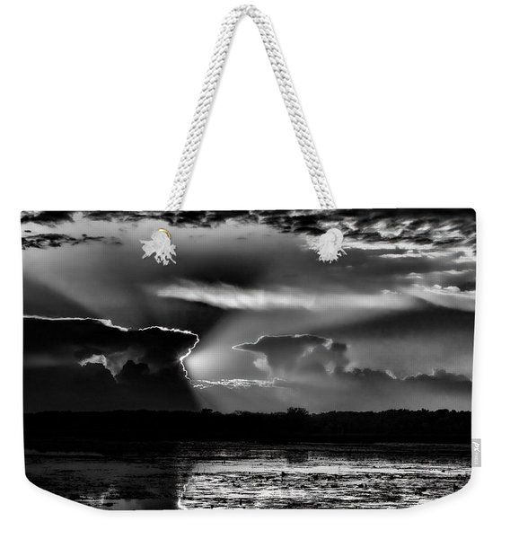 Black And White Sunset Over The Mead Wildlife Area Weekender Tote Bag