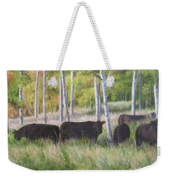Black Angus Grazing Weekender Tote Bag