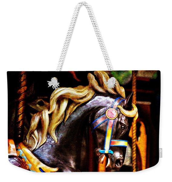 Black Carousel Horse Weekender Tote Bag