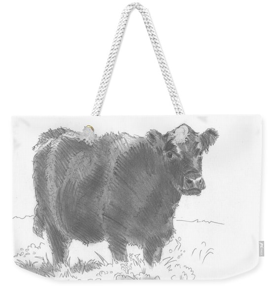 Black Cow Pencil Sketch Weekender Tote Bag