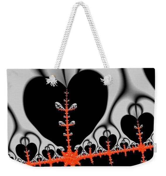 Black Hearts Red Fractal Weekender Tote Bag