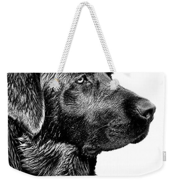 Black Labrador Retriever Dog Monochrome Weekender Tote Bag