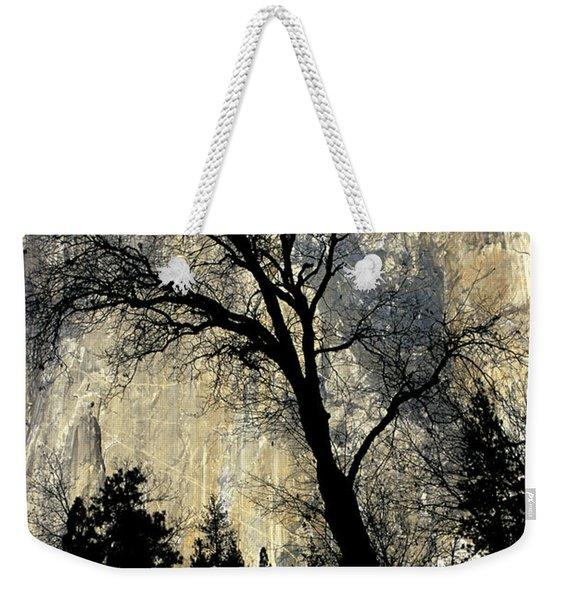 Black Oak Silhouetted In Front Of El Weekender Tote Bag