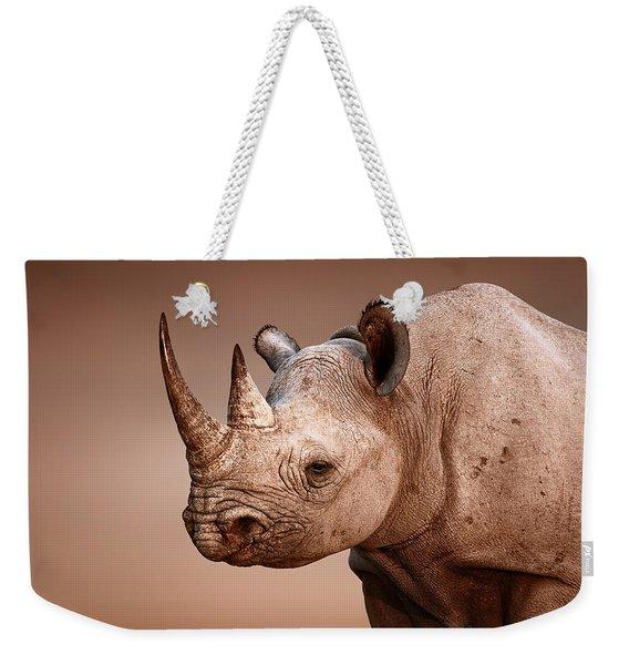 Black Rhinoceros Portrait Weekender Tote Bag