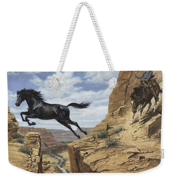 Black Stallion Jumping Canyon Weekender Tote Bag