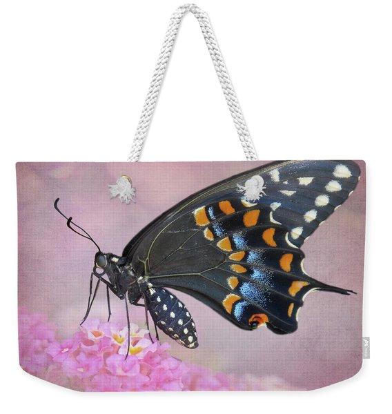 Black Swallowtail On Lantana Weekender Tote Bag
