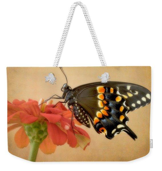 Black Swallowtail On Zinnia Weekender Tote Bag