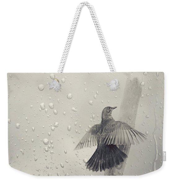 Blackbird In The Rain Weekender Tote Bag