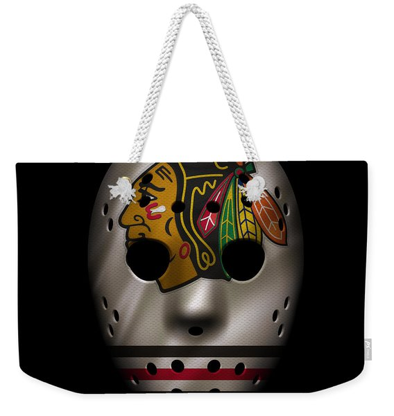 Blackhawks Jersey Mask Weekender Tote Bag