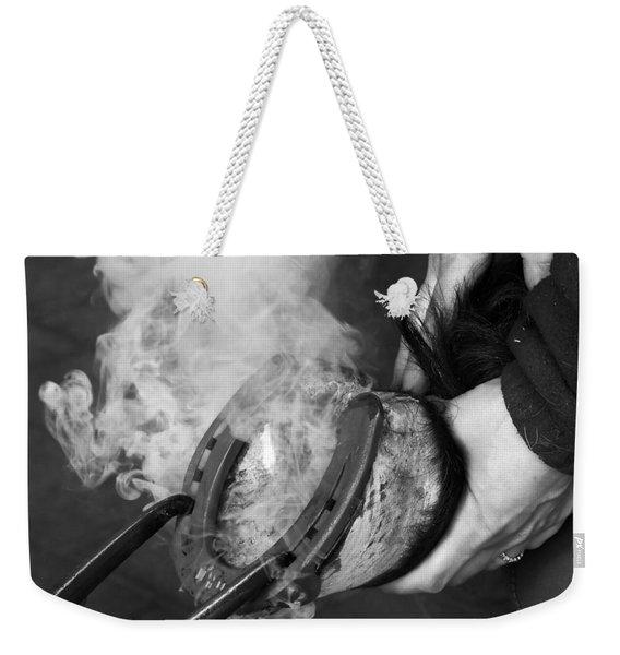 Blacksmith With Horseshoe - Traditional Craft Weekender Tote Bag