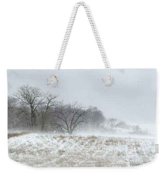 Blowing Snow Over Fields And Forest Weekender Tote Bag