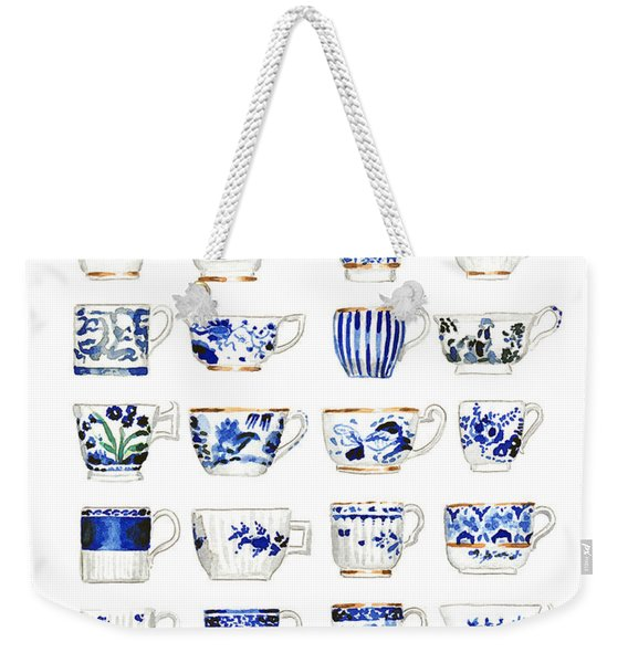Blue And White Teacups Collage Weekender Tote Bag