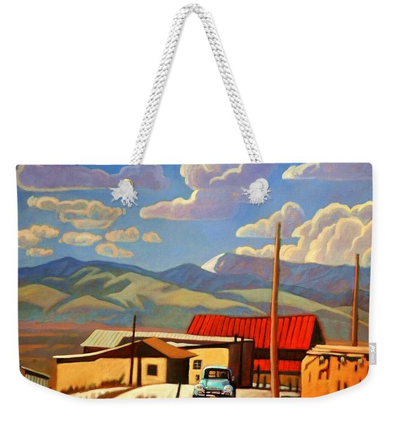 Weekender Tote Bag featuring the painting Blue Apache by Art West