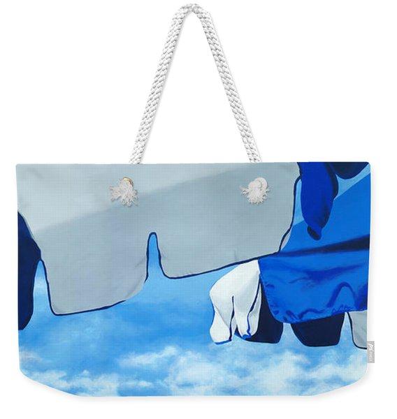 Blue Beach Umbrellas 2 Weekender Tote Bag
