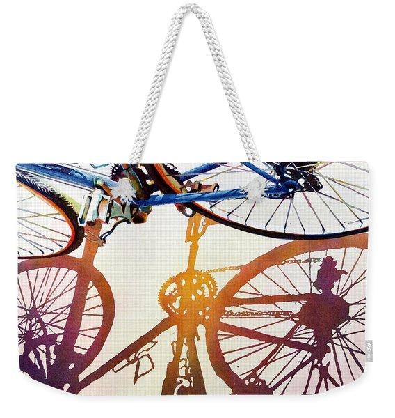 Blue Bike Weekender Tote Bag
