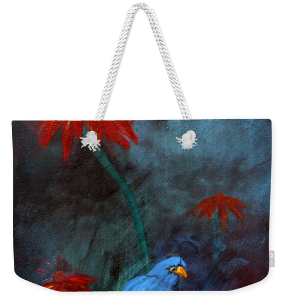 Weekender Tote Bag featuring the painting Blue Bird by Cynthia Amaral