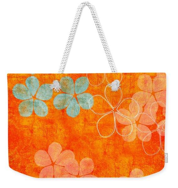 Blue Blossom On Orange Weekender Tote Bag
