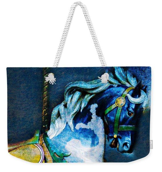 Blue Carousel Horse Weekender Tote Bag