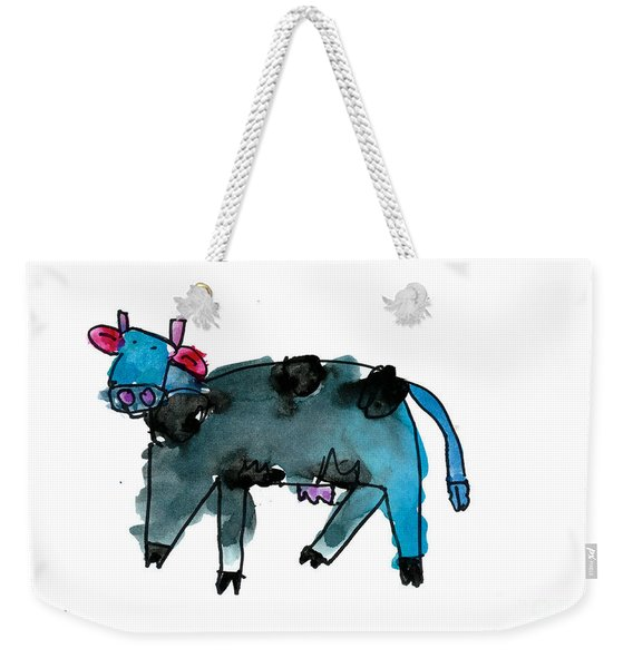 Blue Cow Weekender Tote Bag