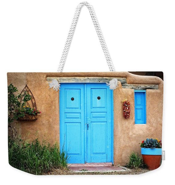 Blue Doors Of Taos Weekender Tote Bag