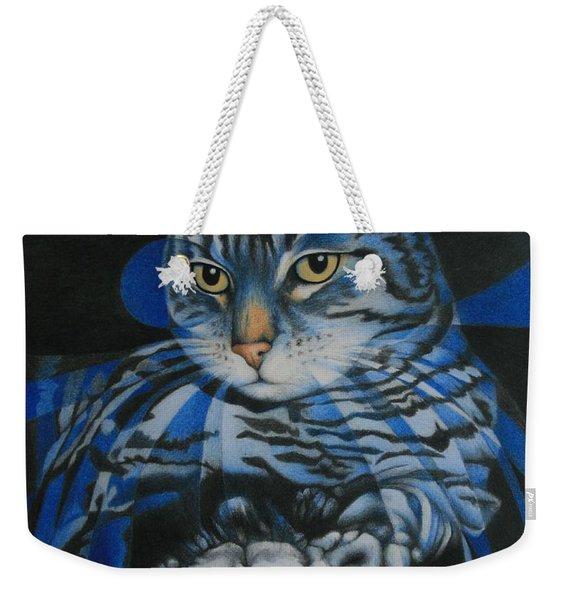 Blue Feline Geometry Weekender Tote Bag