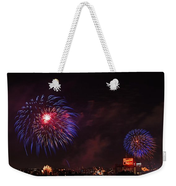 Blue Fireworks Over Domino Sugar Weekender Tote Bag