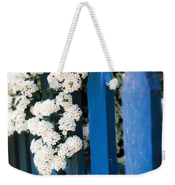 Blue Garden Fence With White Flowers Weekender Tote Bag