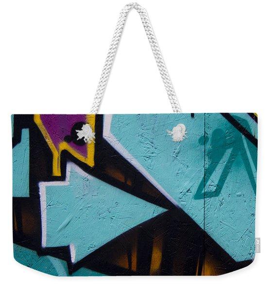 Blue Graffiti Arrow Square Weekender Tote Bag