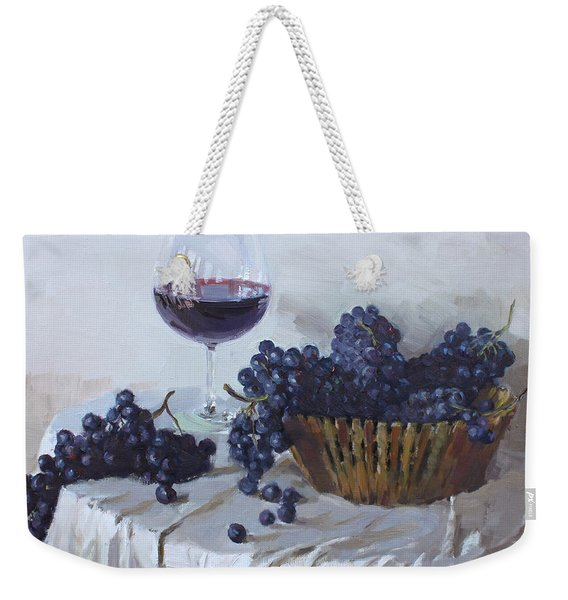 Blue Grapes And Wine Weekender Tote Bag