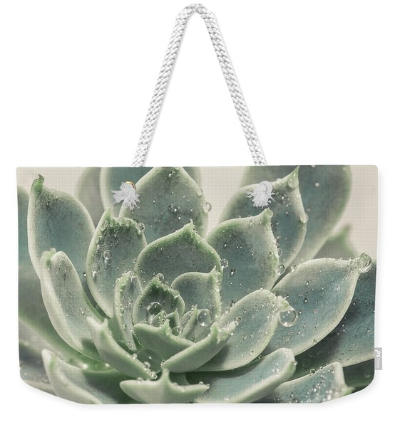 Blue Green Succulent Weekender Tote Bag